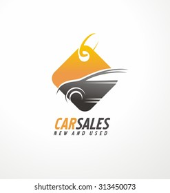 Huge selection of new and used vehicles creative symbol layout. Car sales logo design idea with shape of automobile and price tag. Auto retailer unique icon template.