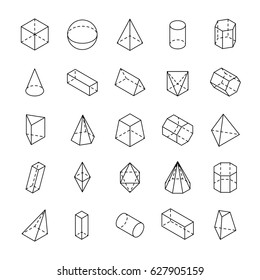 Huge set of 3D geometric shapes with isometric views. Vector outline objects isolated on a white background. The science of math and geometry.