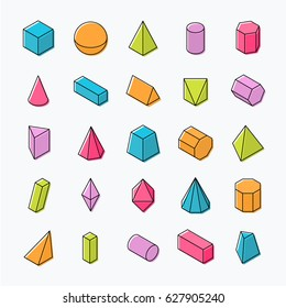 Huge set of 3D geometric shapes with isometric views. Vector flat with outline objects isolated on a light background. The science of math and geometry.