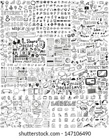 Huge set of business, social, technology hand drawn elements / doodles