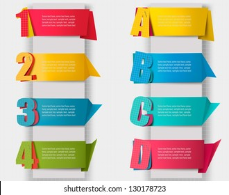 Huge set of colorful origami paper banners with numbers and litters. Vector illustration
