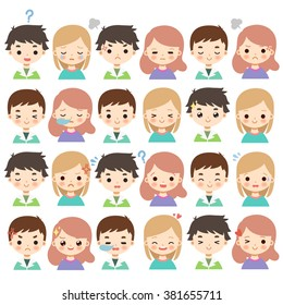 huge set of cute cartoon boys and girls characters with different emotions on white background. cute boys and girls avatars
