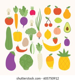 huge set of cute cartoon veggies and fruits. healthy life set. can be used for greeting cards or posters