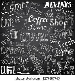 Huge Set of different hand drawn coffee elements -lettering,text, cups, mugs and beans.Black and white Vector illustration.