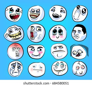 Huge set of emotional stickers with internet memes for everyday expressions in social media, chat, messages, mobile and web apps, internet communication and printed material.