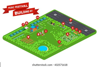 Huge set of everything you need to design your own music festival - stages, facilities, tent camp, trees, lake, fences, parking lot and so on