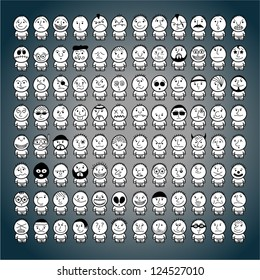 Huge set of funny hand drawn characters.