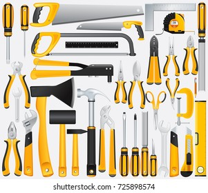 Huge Set of Hand Tools Vector isolated on white background
