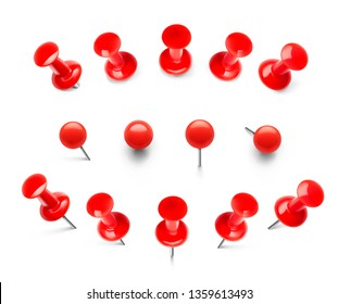Huge set of red push pins. Pins pierced at different heights and different views. Thumbtacks ready for your design. Vector illustration isolated on white background. EPS10.