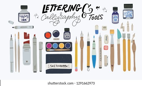 Huge set of tools for hand lettering and calligraphy. Calligraphic essentials - palette, water brush, pencil, eraser, liner, brush pen, marker, ink, nibs, nib holder. Flat style vector art supplies.