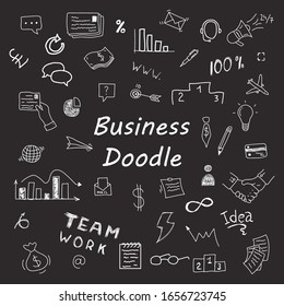 Huge set of vector doodles for business. Infographic, statistics, graphs, devices, charts, concepts, strategies. Money, bank and elements. Doodle hand drawn. Vector illustration, EPS 10.
