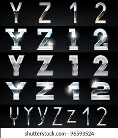 Huge Silver chrome and aluminium vector alphabet set. 4 types. Set # 7