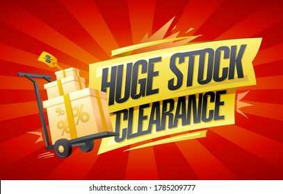 Huge stock clearance vector banner mockup with boxes on a shopping cart