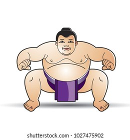 huge sumo wrestler in action vector cartoon