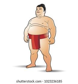 huge sumo wrestler standing in red dress vector cartoon