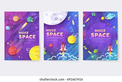 huge universe  vector brochure cards. Outline outer space rocket template of flyear, magazines, posters, book cover, banners. Colorful thin line set.  background. Layout icons stars in galaxy page.