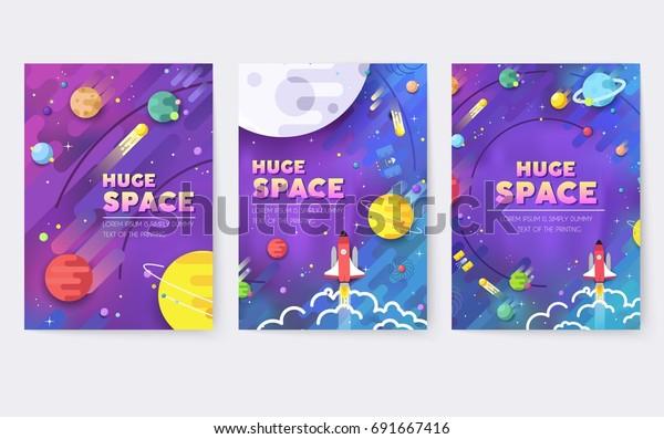 Огромная вселенная векторная брошюра карты. Краткое описание космического ракетного шаблона flyear, журналы, плакаты, обложка книги, баннеры. Красочный тонкая линия набор. фон. Макет иконки звезд в галактике страницы.