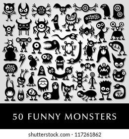 Huge vector set of funny cartoon monsters.