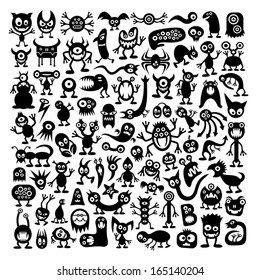 Huge vector set of funny cartoon monsters.