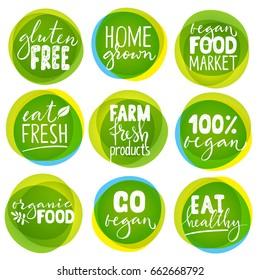Huge vector set of vegetarian labels with lettering. Vegan food stickers.