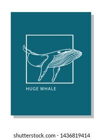 Huge whale swims linear illustration logo design.