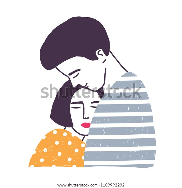 Hugging boyfriend and girlfriend isolated on white background. Man embracing woman. Cute young romantic couple in love cuddling. Hand drawn colorful vector illustration in flat cartoon style