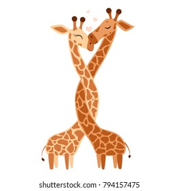 Hugging Giraffe Postcard Vector illustration