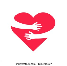 Hugging heart. Hands holding heart arm embrace love yourself child hope cardiology gift romance relationship vector isolated concept