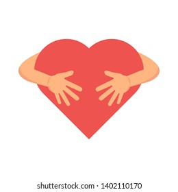 Hugging heart.  Love yourself, Valentines Day Embrace symbol  vector illustration, flat style.