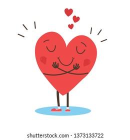 hugging heart vector , Hug yourself , Love yourself - Vector illustration