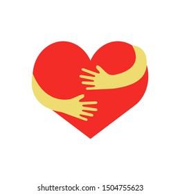hugging heart vector Hug yourself , Love yourself