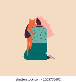 Hugging illustration in vector. Girl hugs a pet cat cartoon characters.