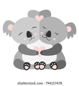 Hugging Koala Postcard Vector illustration