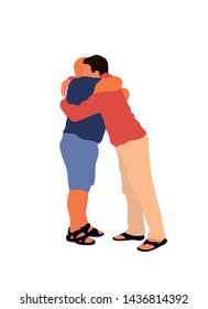 Hugging two men. Vector isolated flat illustration