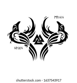 Huginn and Muninn - Odins ravens. Odin Valknut and ravens