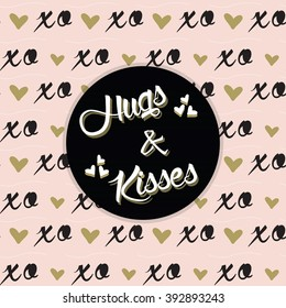 Hugs and Kisses black circle label on trendy pink XO pattern