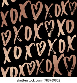 hugs and kisses seamless pattern with lettering. Rose gold design on elegance black backrouund. Vector design for wedding invitation, wrapping paper, poster,card.