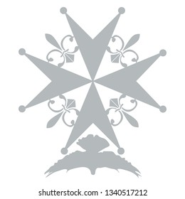 Huguenot Cross as a symbol of evangelical Reformed Church in France. Huguenot Cross isolated vector illustration.