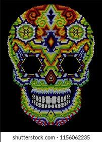 huichol skull mexican