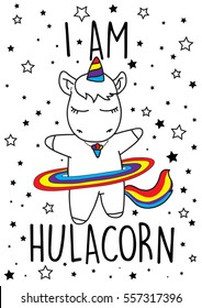 I am hula corn, cute magical unicorn,sweet kids graphics for t-shirts.and phone case, also you can use as wallpaper