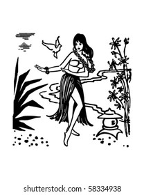 Hula Dancer - Hawaiian Gal - Retro Clip Art