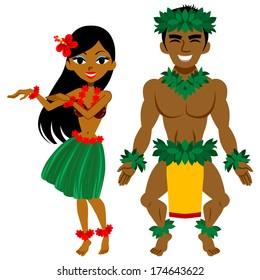 Hula Dancer, man and woman
