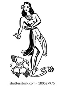 Hula Girl - Retro Clip Art Illustration