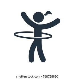 hula hoop icon on white background, fitness, sport