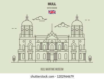 Hull Maritime Museum in Kingston upon Hull, UK. Landmark icon in linear style