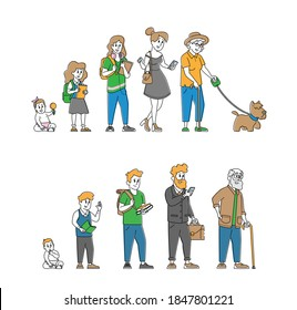 Human Age, Male and Female Character Lifecycle, People Aging Stages from Child to Adolescence and Elderly Cycle. Generation Life Cycle Child, Teenager, Adult and Old. Linear Vector Illustration