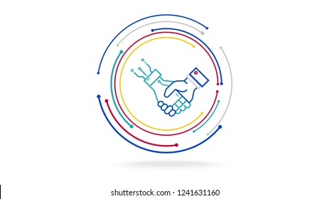 Human and ai futuristic cooperation technology vector icon