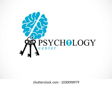Human anatomical brain with keys as a keychain, mental health psychology conceptual logo or icon, psychoanalysis and psychotherapy as a key to human mind concept. Vector simple classic design.