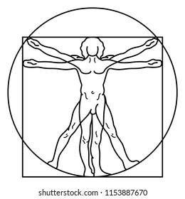 Human Anatomy Leonardo Da Vinci. Vector flat outline icon illustration isolated on white background.