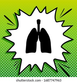 Human anatomy. Lungs sign. Black Icon on white popart Splash at green background with white spots. Illustration.